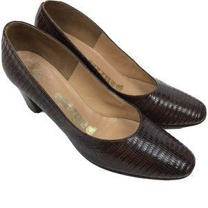 Vtg 50s 60s PALIZZIO Pumps 6.5 Heels Brown Leathe